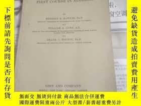 二手書博民逛書店ANSWER罕見BOOK TO FIRST COURSE IN ALGEBRA;外文原版英文書Y26894 G