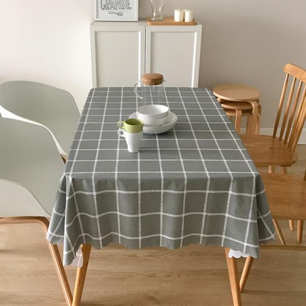 北歐風PVC防水防油桌巾桌墊-深灰格子 (140x180cm)