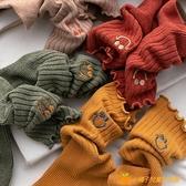 襪子女可愛日系花邊中筒襪秋冬純棉長筒堆堆襪長襪【小橘子】