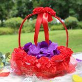 婚禮花童撒花瓣小花籃 結婚慶裝飾用品 伴娘手提玫瑰花瓣撒花 艾莎嚴選