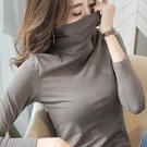 堆堆領打底衫女內搭半高領黑色長袖t恤女裝秋冬緊身春秋百搭上衣