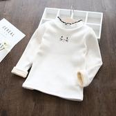女童T恤女童秋冬裝新款加絨白色打底衫3兒童冬季加厚保暖長袖上衣7歲-『美人季』