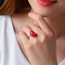 天然水潤綠瑪瑙紅瑪瑙黃瑪瑙戒指925銀鑲...