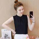 無袖襯衫洋氣雪紡襯衫女t恤2021新款無袖夏裝超仙短袖上衣服時尚甜美小衫 愛丫 新品