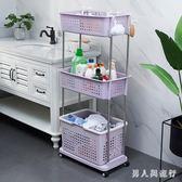 加大三層移動置物架浴室臟衣籃洗衣籃收納架收納筐家用臟衣簍 FF1236【男人與流行】