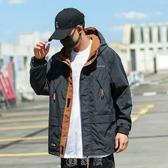 工裝外套男寬松日系春秋季韓版潮流連帽夾克黑色機能風潮牌沖鋒衣 快速出貨