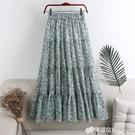 雪紡碎花半身裙女夏季新款高腰顯瘦中長款復古風拼接百褶裙子W245