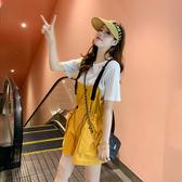 出清388 韓系寬鬆工裝背帶褲短袖T恤休閒套裝短袖褲裝