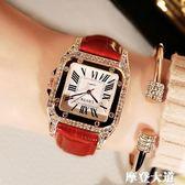 女士手錶防水時尚款2019新款韓版潮休閒簡約流水鉆大氣手錶女學生QM『摩登大道』