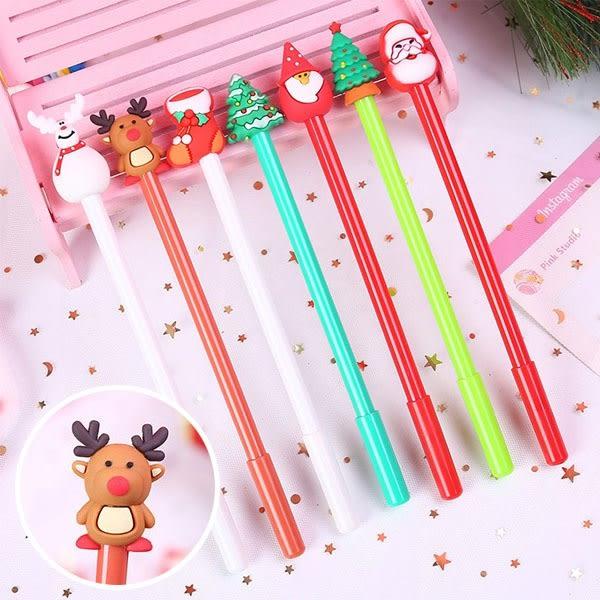 中性筆-韓國可愛聖誕麋鹿雪人中性筆 仿針型0.5原子筆 聖誕禮物【AN SHOP】