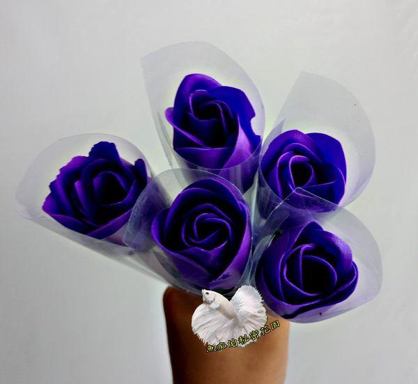 單支含包裝價錢 ~ 最新技術 [ 紫色 香水香皂玫瑰花] 送禮小花束
