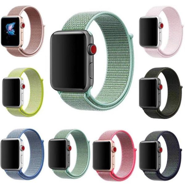 蘋果apple watch4尼龍錶帶iwatch2/3/4代回環吸附手錶帶彩色新款 小宅女