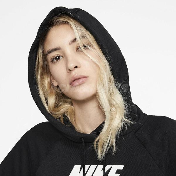 Nike 長袖T恤 NSW Essential Fleece Pullover Hoodie 黑 白 女款 帽T 運動休閒 【ACS】 BV4127-010