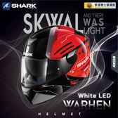 [中壢安信]法國 SHARK SKWAL WARHEN 彩繪 黑紅 LED 全罩 安全帽 定位燈 夜間燈