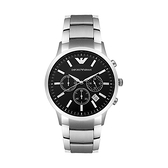 【Emporio Armani】Classic美式經典簡約時尚鋼帶腕錶-時尚黑/AR2434/台灣總代理公司貨享兩年保固
