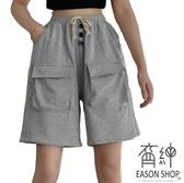 EASON SHOP(GW5978)實拍大口袋排釦裝飾鬆緊腰五分褲抽繩綁帶休閒運動褲女高腰短褲寬褲直筒褲棉褲