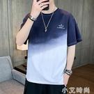短袖T恤男春夏季純棉半袖撞色圓領寬鬆款潮流港風ins五分中袖體恤 小艾新品