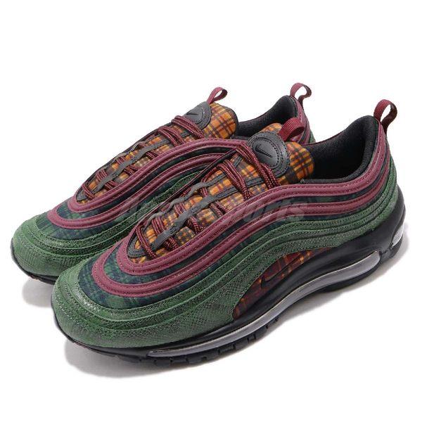 Nike 復古慢跑鞋 Air Max 97 NRG Jacket Pack 綠 紅 蛇紋 格紋拼接 男鞋 氣墊 運動鞋 【PUMP306】 AT6145-600