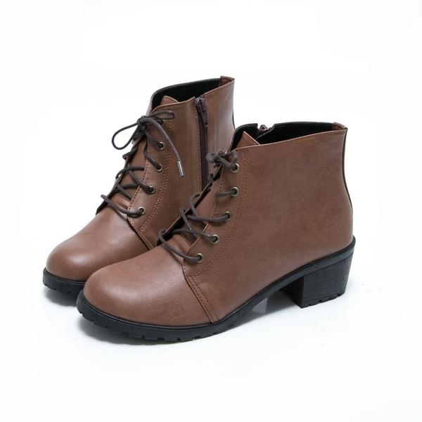 踝靴.MIT綁帶英倫粗跟短靴