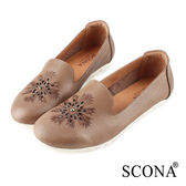 SCONA 蘇格南 全真皮 輕量舒適刺繡深口鞋 卡其色 31038-2