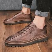 2020春夏季新款韓版潮流商務休閒鞋英倫百搭布洛克小皮鞋板鞋潮鞋「時尚彩紅屋」
