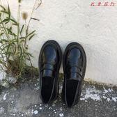 英倫風女鞋黑色小皮鞋簡約平底單鞋