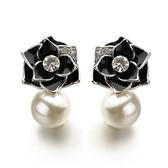 耳環 玫瑰金 925純銀鑲鑽-玫瑰珍珠情人節生日禮物女飾品2色73gs251【時尚巴黎】