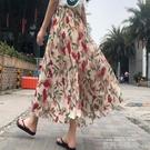 雪紡百褶裙2020夏新款波西米亞氣質鬆緊腰碎花高腰半身裙仙女長裙 依凡卡時尚