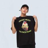 強大心臟寬版TEE STRONG HEART T-SHIRT 黑色/橘色 兩色