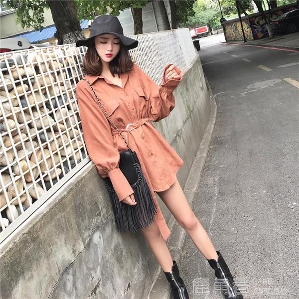 復古港味秋裝新款絲絨面料氣質時髦長袖襯衫中長款繫帶襯衣洋裝 鹿角巷