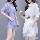 套裝時尚套裝女新款夏季韓版中長款襯衫闊腿褲短褲顯瘦兩件套洋氣 快速出貨