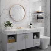 北歐實木小浴室櫃組合衛生間洗漱台洗手盆洗臉池台上面盆衛浴吊櫃WY