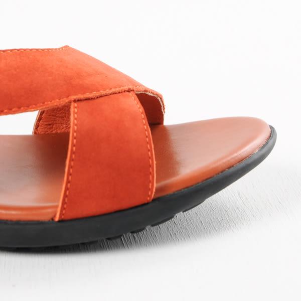 GREEN PINE 素面彈性鬆緊帶高跟涼鞋-橘紅色