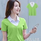 綠色翻領短袖t恤女年新款純棉polo衫有領黑色半袖夏裝短款潮 「錢夫人小鋪」