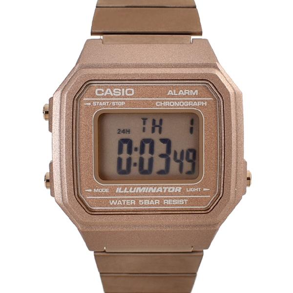 CASIO手錶 全玫瑰金電子鋼錶NECE36