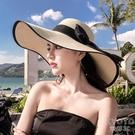 沙灘帽子女夏遮陽帽防曬大沿帽可折疊百搭草帽防紫外線海邊太陽帽 快速出貨