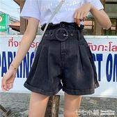 牛仔短褲~ 2021夏季新款韓版大碼胖mm牛仔短褲女高腰寬鬆顯瘦a字寬管熱褲子