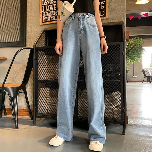 寬褲 夏裝正韓時尚百搭拖地長褲寬鬆高腰闊腿褲顯瘦剪邊牛仔褲女學生