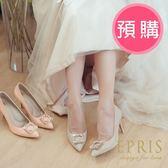 預購 MIT小中大尺碼婚鞋尖頭鞋推薦 蜜桃女神 全真皮100%羊皮麂皮高跟鞋 21-25.5 EPRIS艾佩絲