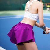 假兩件瑜伽短褲女防走光跑步馬拉鬆戶外健身速干寬鬆運動短褲女夏【潮咖地帶】