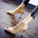 歐美魚嘴鞋露趾涼鞋女2019夏季新款細跟針織鬆緊彈力羅馬高跟涼靴 嬌糖小屋