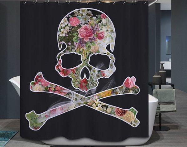 ☆歡樂寶貝商城☆超有特色 個性風♥180*180花朵骷髏頭 黑色防水浴簾
