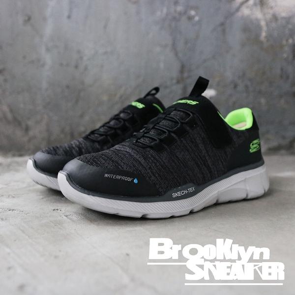 SKECHERS AIR-COOLED 灰黑綠 防潑水 魔鬼氈 休閒鞋 童鞋 (布魯克林) 2019/3月 97925LBKCC