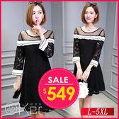 時尚透膚網紗雙層荷葉平口蕾絲洋裝 L-5XL O-Ker歐珂兒 159177-C
