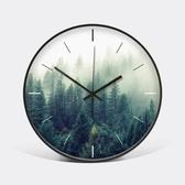 【森林(黑框)】瓦舍綠色植物掛鍾小清新鐘錶12英寸