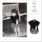摩登摺耳兔格紋拼接短袖上衣 長版 T恤 女童 可愛 兔子 格子 拼布