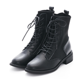 MICHELLE PARK 舒適率性 真皮針織拼接五分襪靴-黑