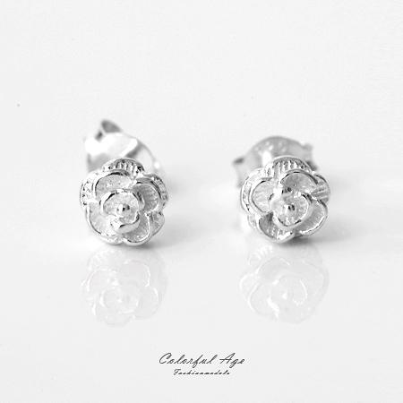 925純銀貼耳式耳針耳環 玫瑰花朵層次分明 抗過敏抗氧化 精緻雕花 柒彩年代【NPD26】一對價格