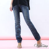 Victoria 低腰重水洗小直筒褲-女-深藍