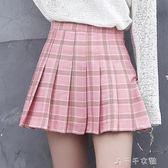 格子百褶a字裙短裙夏女chic高腰學生原宿ulzzang半身裙子千千女鞋